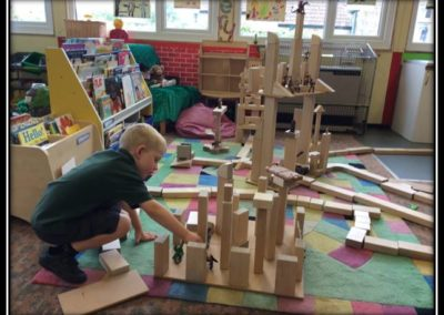Making a town with the big bricks.